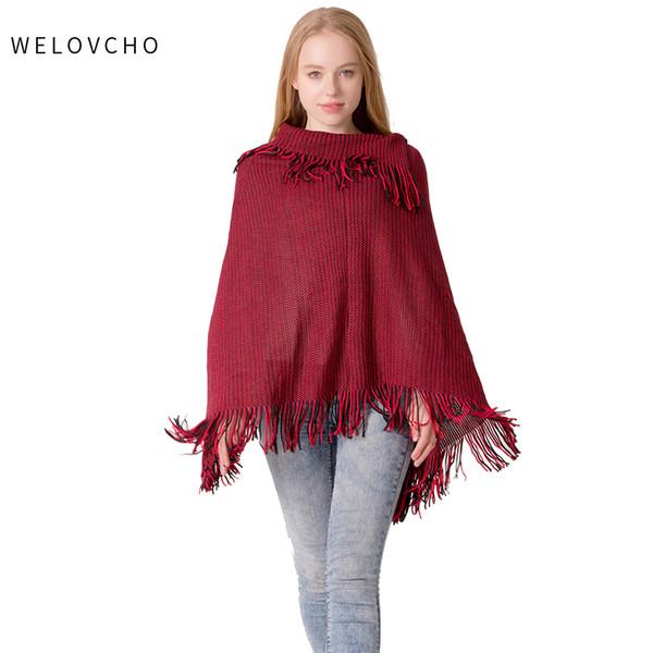 WELOVCHO Autumn and Winter Hot New Batwing Sleeve Tassel Women Knit Hooded Cape Shawl Women Cloak Sweater HoodedBig Tassel Shawl