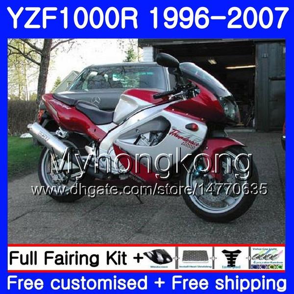 Red silvery Body For YAMAHA Thunderace YZF1000R 96 97 98 99 00 01 238HM.22 YZF-1000R YZF 1000R 1996 1997 1998 1999 2000 2001 Fairings kit