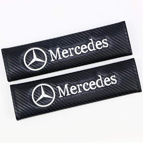 1 par de fibra de carbono que compite con los deportes estilo de la cubierta del cinturón de seguridad del asiento para el hombro almohadillas para benzwhite
