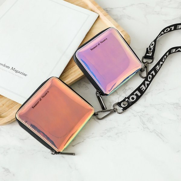 Women Short Holographic Laser Wallet Fashion Lady Mini Zipper Hanging Wallets Cute Small Card Holder Coin Purse LJJT478