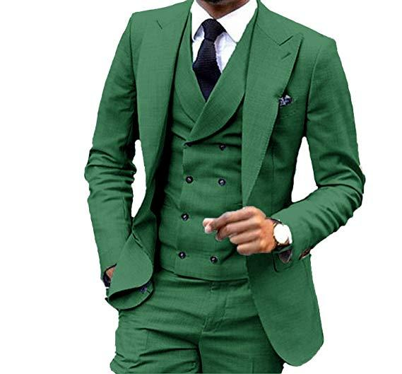 Blazers Pants Vest 3 Pieces Social Suit Men Fashion Solid Business Set Casual Large Size Mens Wedding Suits Green Red Gray Suit