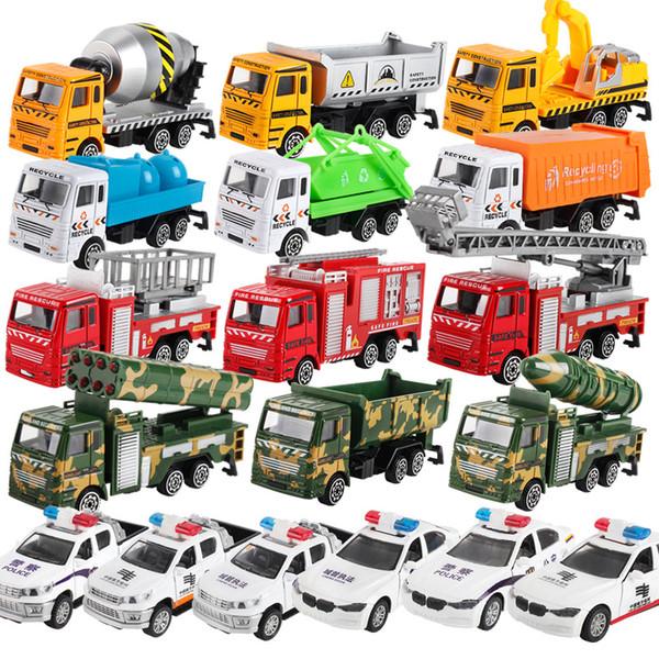 Hot Cars Modelo Toys Green Car, Police Car Mixer, Camión de bomberos, Camión de cemento, Juguete educativo Modelo de simulación de carros ABS