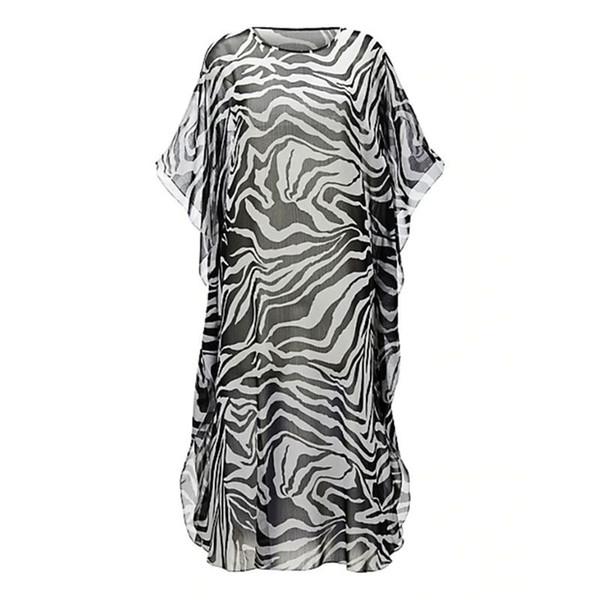 Mujeres gasa Zebra-Stripes Impresión digital Bikini Cubrir Medio mangas Semi-Sheer Lateral Dividir Maxi vestido Escote redondo Tamaño grande