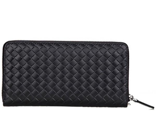 19 designer men's wallet leather clutch bag woven pattern wallet fashion creative long section business men's clutch bag wallet men's handba