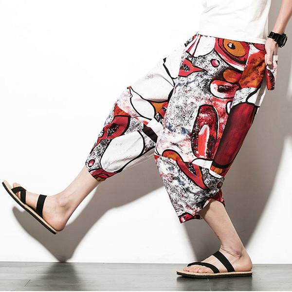 Plus Size Casual Baggy Pants 5XL Hip Hop Harem Pants Men New Ethnic Wide Leg Trousers Japanese Style Cotton Linen Cross-Pants