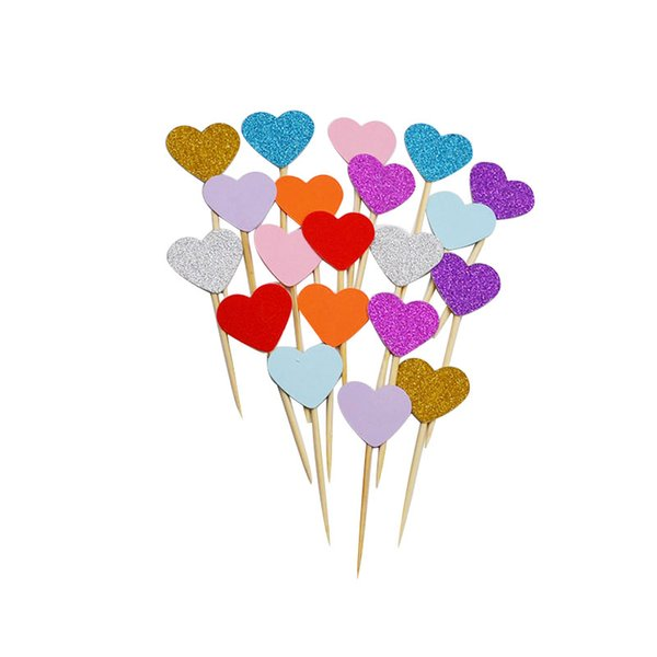 vent Party Cake Decorating Supplies 40pcs Mini Lovly Heart Cupcake Toppers DIY Handmade Paper Cake Topper Kids Birthday Party Favor Suppl...