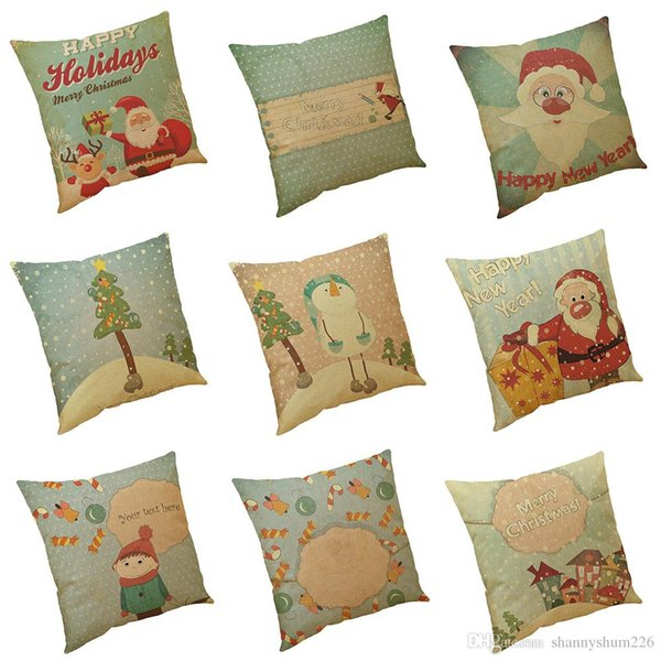 Happy Holiday Christmas Series Linen Cushion Cover Home Office Sofa Square Pillow Case Decorative Cushion Covers Pillowcases Without Insert