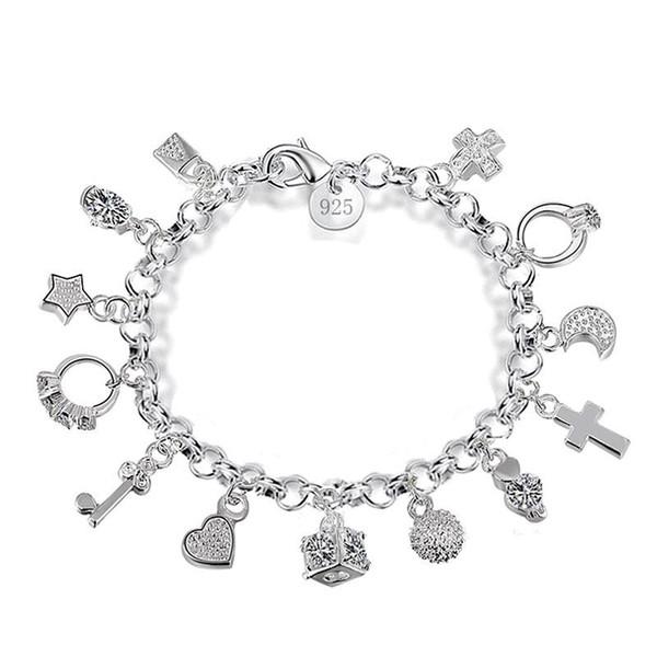 De luxe 925 argent sterling chaînes bracelets serrure à clé croix anneaux étoiles lune amour coeur brin de homard fermoir bracelet pour les femmes bijoux de mode