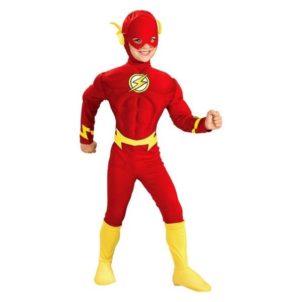 Boy The Flash Muscle Superhero Fancy Dress Kids Fantasy Justice League DC Comic Movie Party Fiesta de Halloween ropa trajes