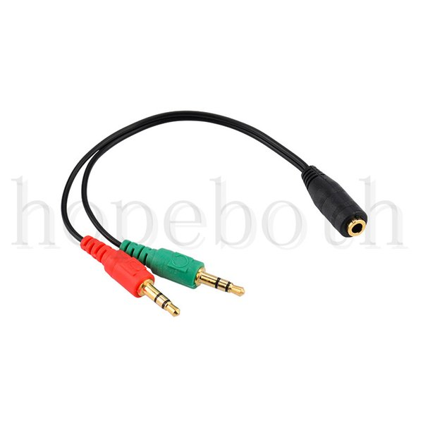 top popular New Hot Sale 3.5mm Female to 2 Male Jack Plug Headphone Mic Audio Y Splitter Cable Stereo Audio Cable Free Shipping 2021