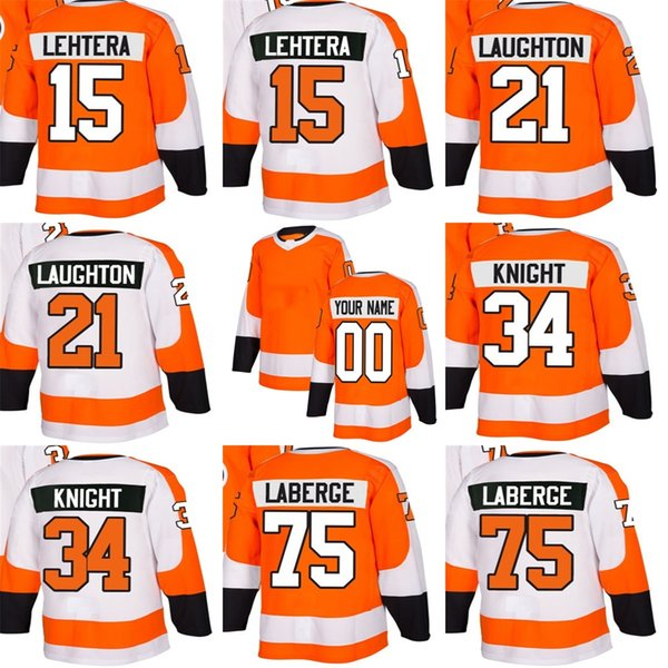 2018 New Brand Mens Philadelphia Flyers 15 Lehtera 21 Laughton 34 Knight 75 Laberge Orange White Best Cheap Ice Hockey Jerseys Accept Custom