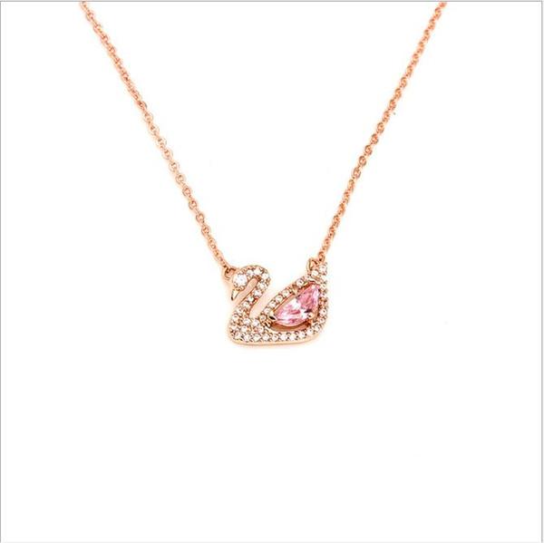 Chaîne de clavicule incrustée de cuivre doré, collier avec pendentif cygne serti de diamants, nouveaux produits japonais et coréens