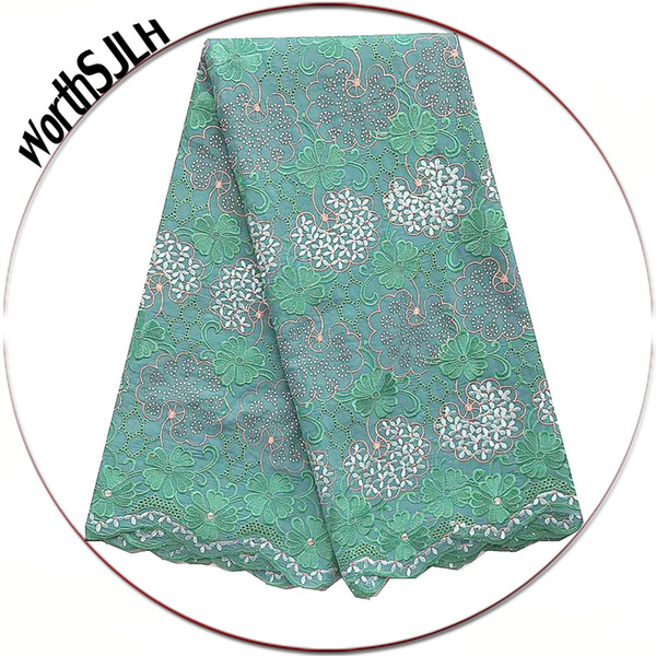 Latest Nigerian Lace Fabrics Cotton Swiss Embroidered Lace Fabric Teal Green Peach Dry Africa Laces High Quality Lace Fabric