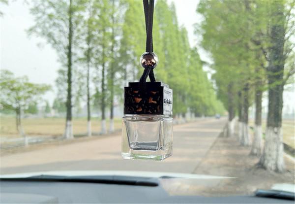 Botella de perfume del coche de vidrio cuadrado Bolsa colgante Aceite esencial Líquido gotero botellas claras Vacío colgando Difusor del coche ornamento nuevo A21602