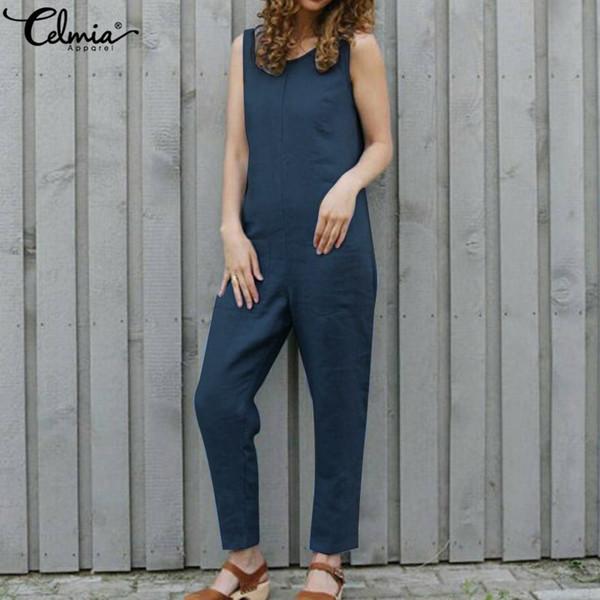 2019 Moda Donna Allentato Tuta Solido Celmia Vintage Salopette Harem Donna Pantaloni Overall Pantaloni Casual Tute Plus