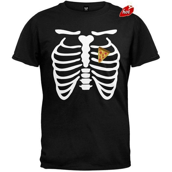 2018 New Arrivals Pizza Heart Disfraz de esqueleto camiseta Camiseta estampada Hombres camiseta Casual Tops