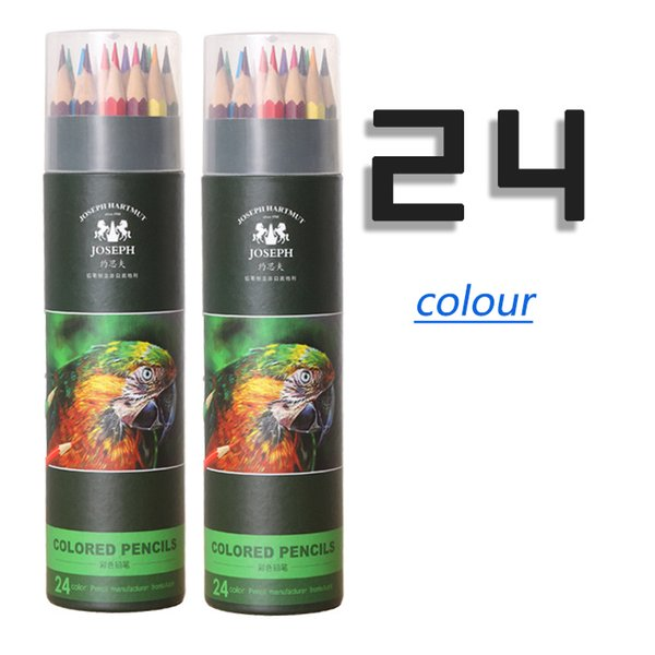 Best selling explosion 24 color pencil wholesale oily paper tube packaging quality green wooden cartoon painted pencil graffiti