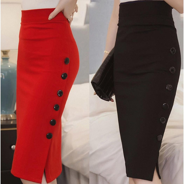 Moda Nuevas Mujeres Elegante Sólido Cintura alta Slim Open Slit Button Pencil Skirt