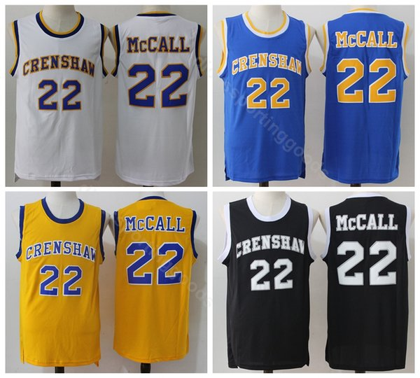 College 2016 CRENSHAW 22 Quincy McCall Jersey Flint Tropics Semi Pro Movie Basketball Jerseys McCall Uniform Blue Black White Yellow