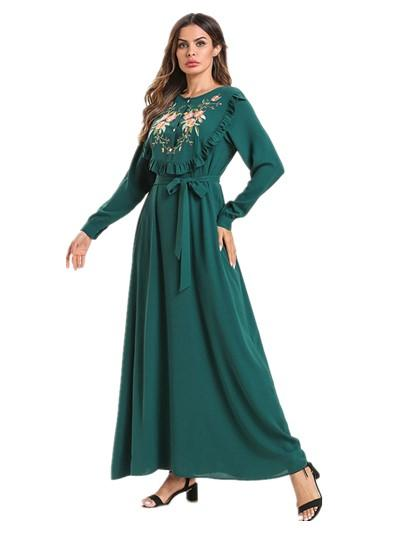 Muslim Modest Fashion Arabic Front Slit Single Breasted Breastfeeding Skirt Ruffled Embroidered Lace Casual Dress Musulman Vestidos 197594