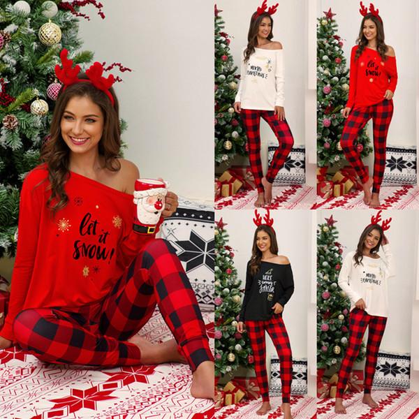 Noël Plaid Pyjama dames Lettre Imprimer manches longues T-shirt Top Pantalons Pyjama de nuit de nuit ensembles deux pièces LJJA3431-11