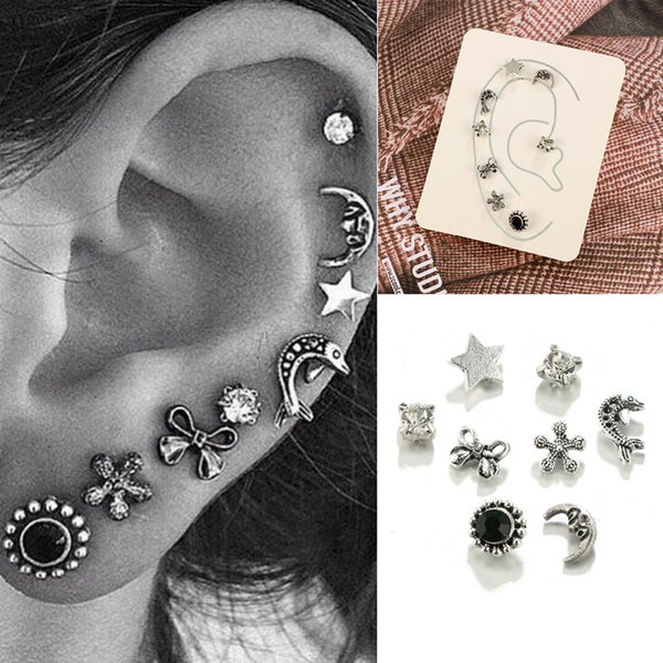 3 Sets Vintage star sun fish ear Helix Cartilage earring Fake Nose Ring Tragus Piercing Body Jewelry