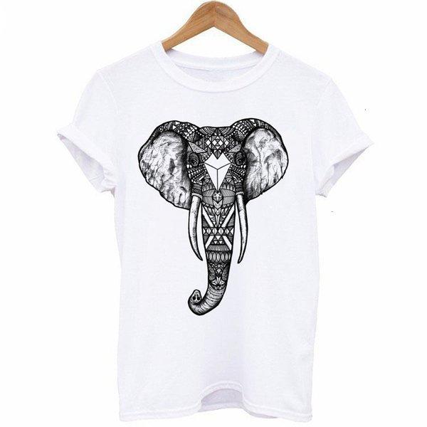 Womens Tshirt Women Shirts Casual T Shirt Women T Shirt Mouw Elephant Print Mujer Tops T Shirt Short O Neck White Tees