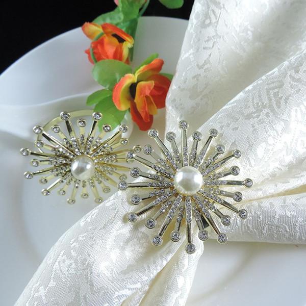 Sonnenblume gefälschte Perle Serviettenring 10 Designs Luxus Royal Hochzeit Serviettenring Hotel Strass Serviettenhalter 12 Stück ePacket
