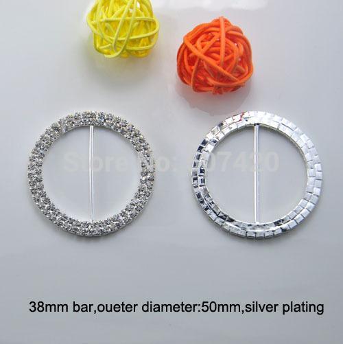 (L0014-38mm) 50pcs / Lot, trasporto libero di cristallo rotondo Fibbia strass in argento 2Rows diametro di 50mm, sedia matrimonio fibbia