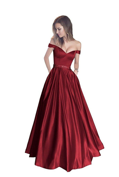 Pink Off Shoulder Beaded Sash Formal Evening Dresses Women's Fashion Bridal Gown Special Occasion Prom Bridesmaid Party Dresses DH4182