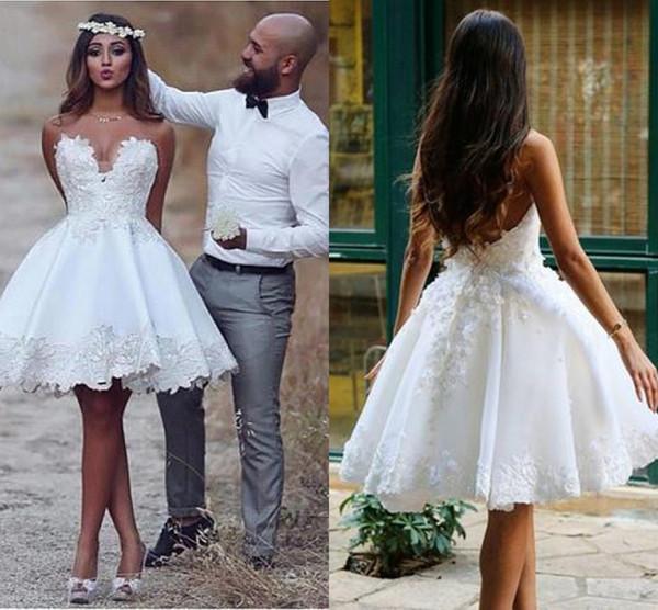 Pretty Short Wedding Dresses 2019 Sweetheart Country Stylish Satin Applique Lace Designer Wedding dress Bridal Gowns Vestidos De Novia
