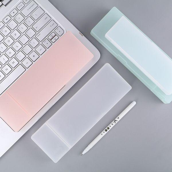 Cute Kawaii Simple Transparent Scrub Pencil Case Pencil Box Plastic Storage Box Learning Stationery Office Supplies