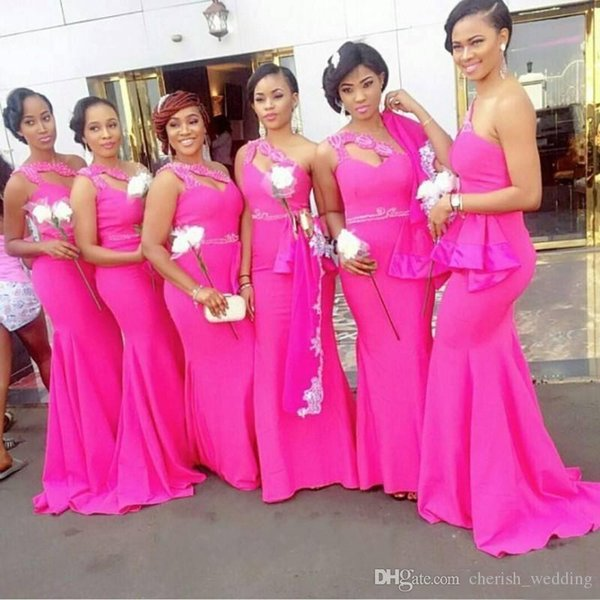 Fushia African One Shoulder Mermaid Bridesmaid Dresses Long Beaded Peplum Maid Of Honor Wedding Party Dress Long Sexy Cocktail Party Gowns