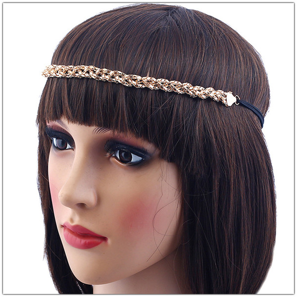 2019 New Women Wedding Bridal Alloy Twisted Hair Headband Romantic Lovely Copper Alloy Gold Woven Head Chain Hair Jewelry Accessories