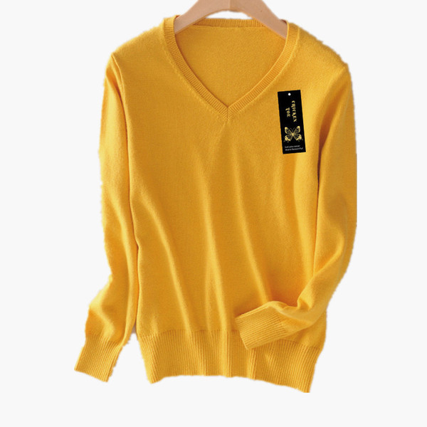 2019 Soft Cashmere Elastic Sweaters Pullovers Women Autumn Sweater V-neck Female Jumper Knitted Brand Pullover