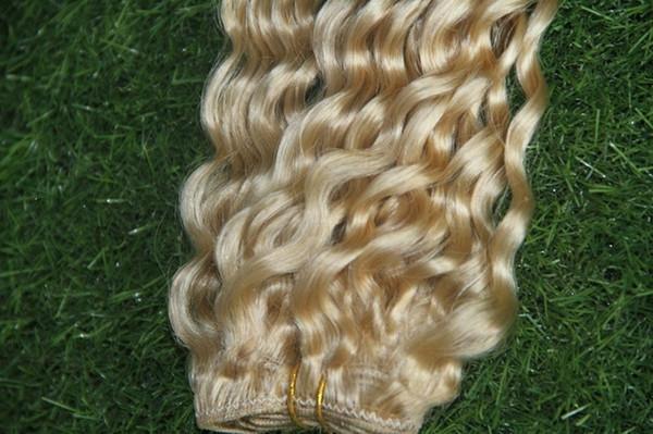6a # 24 Light Blonde Color Deep Wave Bundles 100% Extensiones de cabello humano Peruano Virgin Bundles