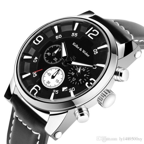 Keller Weber Original Hombre Relojes de Primeras Marcas de Lujo Cronógrafo Militar Cuarzo Cuero Genuino 30 m Reloj Hora Impermeable Relogio masculino
