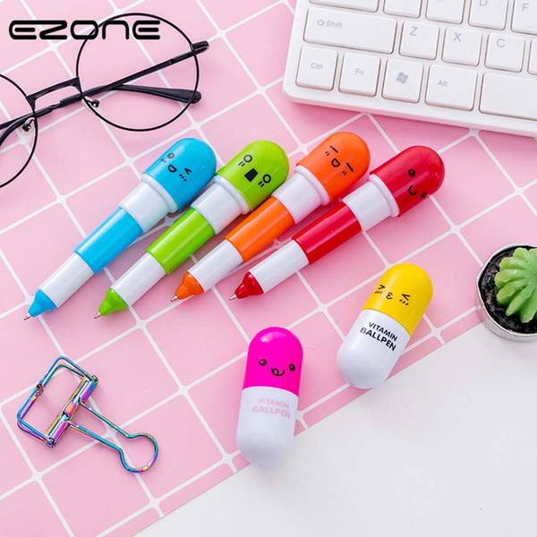 EZONE Pills Ball Ballpoint Pens Kawaii Cute Expression Stretch Pen Blue Ink Students Creative School Writing Pen Art Supply