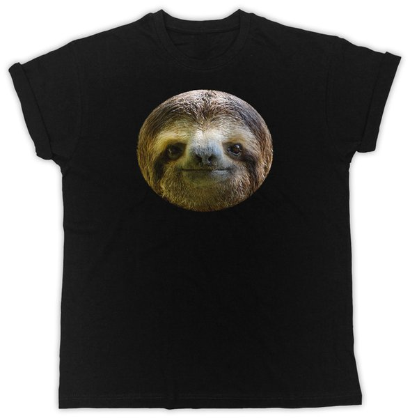 FUNNY SLOTH FACE IDEAL GIFT PRESENT COOL RETRO UNISEX BLACK TSHIRT colour jersey Print t shirt