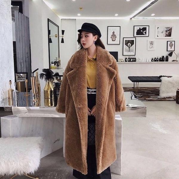 Rosa lungo Orsacchiotto del rivestimento del cappotto di inverno delle donne spessore caldo oversize Chunky soprabito della tuta sportiva Donne Faux Fur Coats lana d'agnello