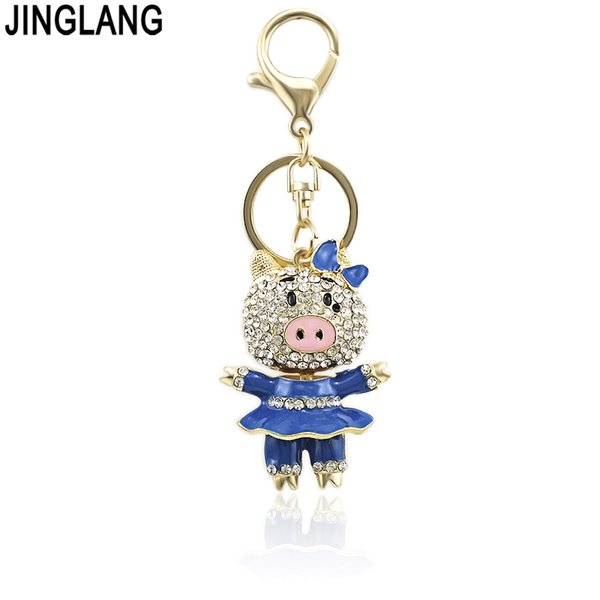 JINGLANG Cute Trinket Rhinestone Pig Keychains Metal Car Keyring Fashion Animal Women Handbag Key Holder