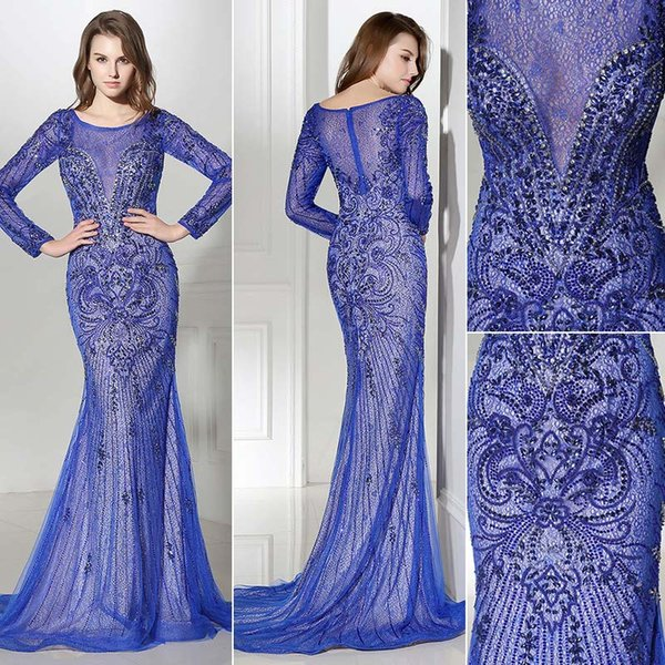 Gorgeous Royal blue long sleeves Mermaid Evening Dresses Wear yousef aljasmi scoop Neck Heavy crystals beading lace arabic Prom Formal Gowns
