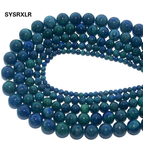 Natural Stone Chrysocolla Azurite Round Loose  For Jewelry Making DIY Bracelet Necklace Pick Size 4/6/8/10/12 MM Strand