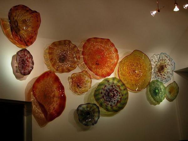 Piatti di fiori di loto lucidi artistici eleganti Piatti da parete fatti a mano in vetro di Murano fatti a mano Art Decor Piatti da parete