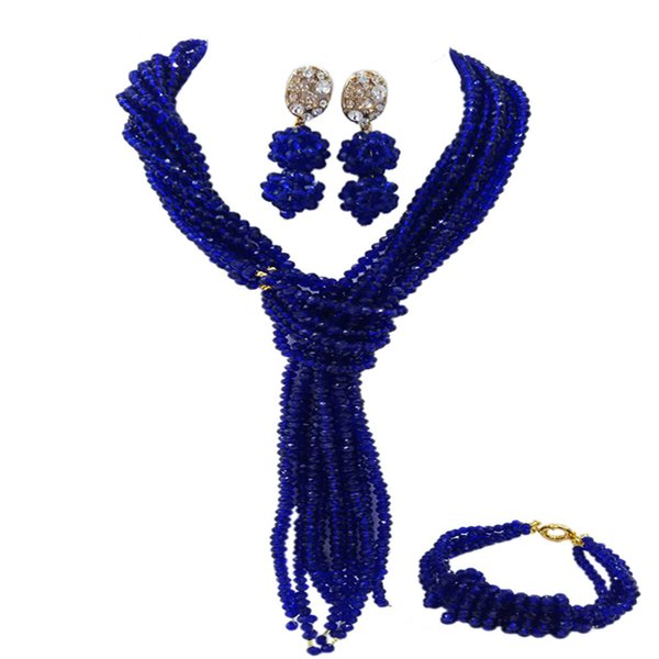 Fashion Royal Blue African Beads Jewelry Set Wedding Accessories Crystal Beaded Necklace Bracelet Earrings Sets 10WJK04