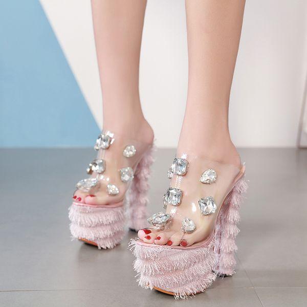 16cm 2019 New pink rhinestone gem transparent platform thick high heel luxury women designer shoes size 34 to 40