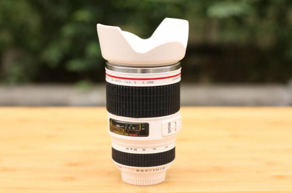 Camera Lens Mug - Stainless Steel Coffee Cup Mug - Canon Lens Shape Novelty Travel Thermos Milk Tea Water Mugs 400ML