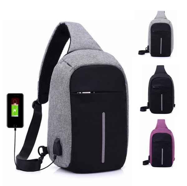 top popular Anti-theft Laptop Notebook Backpack With USB Charging Port Children Women Men One Shoulder Bag Business Chest Pack 6pcs OOA3173 2019
