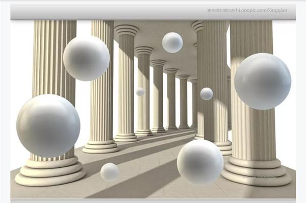 Customized 3D photo wallpaper silk material mural Abstract space Roman column ball 3d living room TV background mural wallpaper for walls 3d