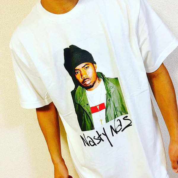 17FW Fashion Hip Hop Nasty Nas PHOTO Tee Skateboard Cool Rapper T-shirt Men Women Casual Tee Fashion T-shirt